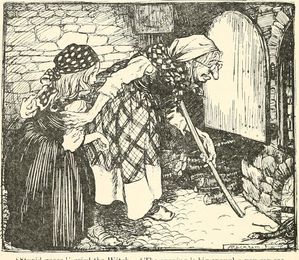 Print of old witch and girl next to the oven