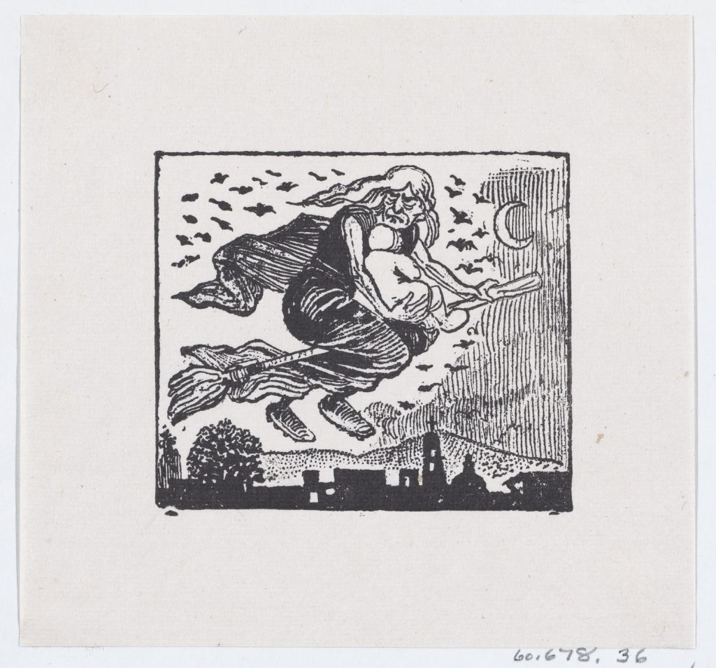 Print of witch flying on a broomstick