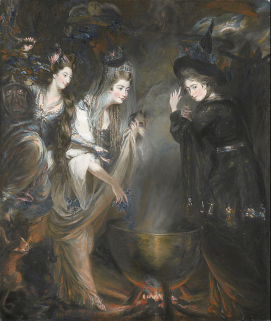 Three witches by a cauldron performing a spell