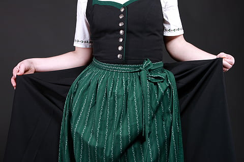 woman wearing witchy green dress
