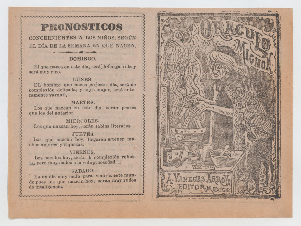 Print of fortunes of the days of the week from oracle book